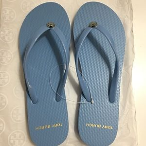 Tory Burch women's thin flip flop slippers blue